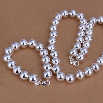 ON SALE - Bold Beads Silver Matching Bracelet and Necklace Set