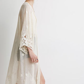 Crocheted Open-Front Maxi Cardigan