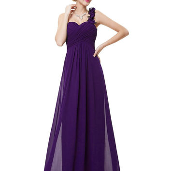 Wedding Bridesmaid Dresses Ever Pretty EP09768 Fashion Women Flower One Shoulder Chiffon Padded Long Bridesmaid Dresses 2016