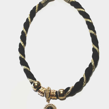 Black Necklace, Statement Necklace, Pendant Necklace,  Twisted Gold Cord, Beaded Necklace, Festive Necklace, Fashion Jewelry, Necklace, Gift