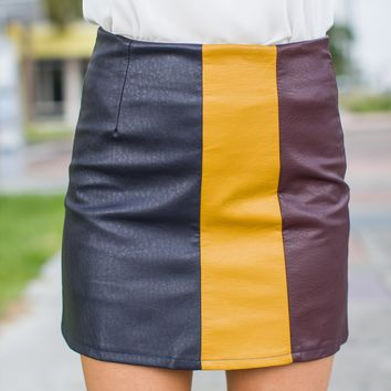 Color-block Faux Leather Skirt
