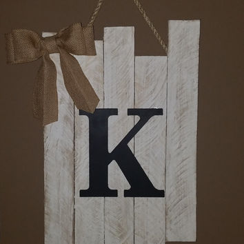 Monogram White Distressed Rustic Wooden Hanging Sign with Burlap Bow. Custom, personalized. Perfect to hang on a wall or door!