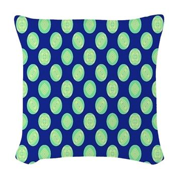 Green Yellow Circles on Dark B Woven Throw Pillow