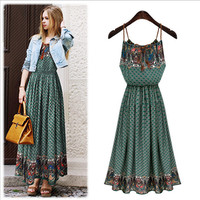 Dark Green Vintage Print Braided Strap Pleated Empire Maxi Dress