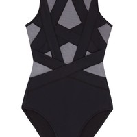 Esther Sheer Cut Out One Piece Swimsuit - Black