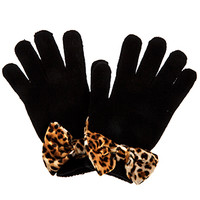 Black Mittens with Leopard Bow