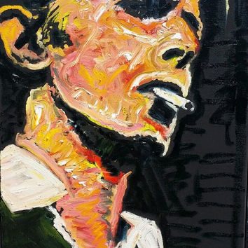 David Bowie Art Original Oil Painting 18x24 Urban Art Music Art Rock Art New Romantic Art Pop Art Painting by Matt Pecson