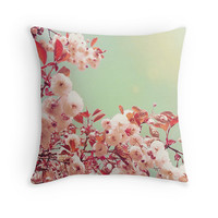 Cherry blossoms, floral pillow, floral cushion, cherry blossom decor, pink cushion, pink pillow, pillow cover, cushion cover, pastel pink
