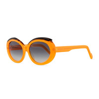 Plastic Oval Sunglasses with Curved Brow, Orange/Black - Courreges