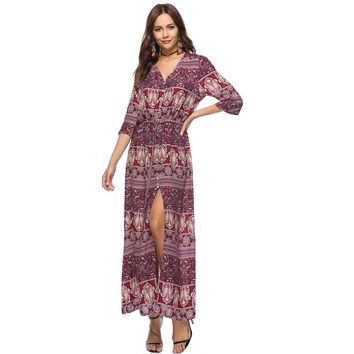plus Size M-3XL 10 Colors Women Dress Vintage Print Boho Long Maxi Dresses Casual Beach Dress Sundress