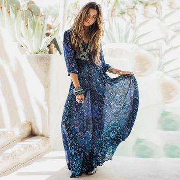 Gypsy Soul Bohemian Style Floral Chiffon Dress Women Boho Chic Maxi Hippie Dress Femme Holiday Beach Vestidos