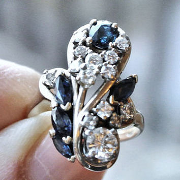 Ring Diamond and Sapphire Genuine 1.84ctw Cocktail Cluster 14k Gold Antique Aesthetic Era Victorian Circa 1885-1901 Jewelry Estate Heirloom