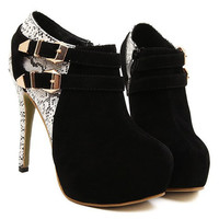 Snake Pattern High Heel Ankle Boots With Buckle