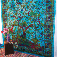 Large Light Blue Cotton Tree of Life Tapestry Wall Hanging Indian Bedspread Hippie Bohemian Throw Ethnic Home Decorative Art