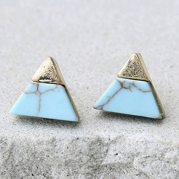 Complementary Angles Gold and Turquoise Earrings