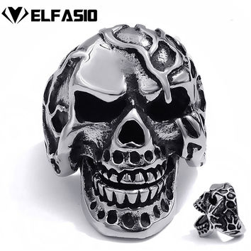 Men's Boy's Stainless Steel Ring Scary Skull Movable Jaw  Biker Jewelry Size 7~14