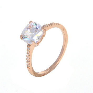 Dear Deer Rose Gold Plated Classic CZ Cocktail Ring