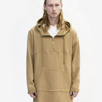 Elongated Hooded Pullover Trench in Khaki