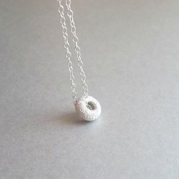 Small circle necklace, dainty silver necklace, small, tiny, petite, dainty silver necklace by viartvi