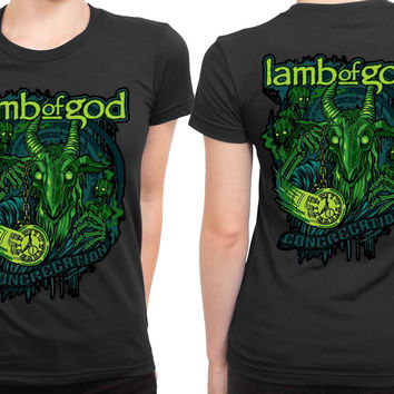 Lamb Of God Congregation Time Green Monster 2 Sided Womens T Shirt