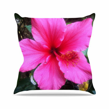 "NL Designs ""Tropical Pink Hibiscus"" Pink Floral Throw Pillow"