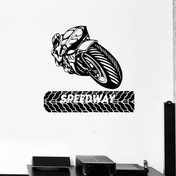 Wall Decal Biker Bike Motorcycle Racer Race Extreme Sports Vinyl Sticker Unique Gift (ed622)