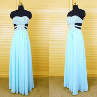 Stunning light sky blue sweetheart long beaded chiffon prom dress, key hole back prom dress 2015, evening party dress,bridesmaid dress DP080