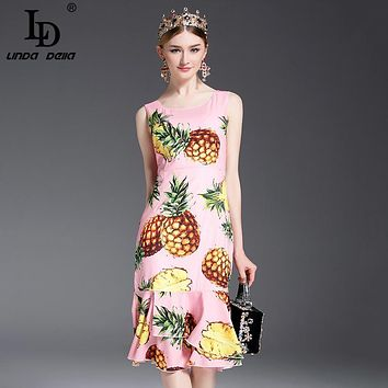 2017 Runway Designer Summer Dress Women's Sleeveless Vest fruit Pineapple Printed Ruffles Sheath Cute Mermaid Dress Bodycon