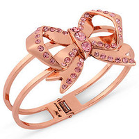 Betsey Johnson Bracelet, Rose Gold-Tone Pink Crystal Bow Hinge Bangle - Juniors Prom Shop - Macy's
