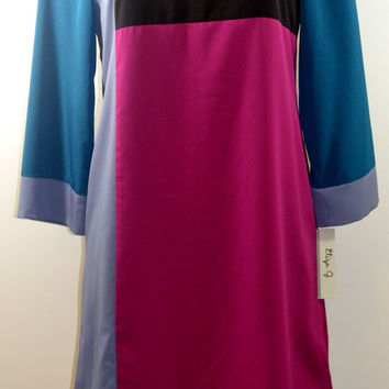 Eliza J Color-Block CDC Dress Multi-Color Missy Size 8