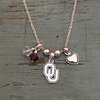 Oklahoma Sooners Crystal Bead Duo, Heart & Logo Charms Necklace