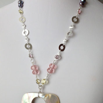 Large Shell Pendant & Silver Chain, Crystals and Pearls Necklace