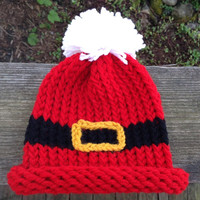 Santa's Belt Christmas Holiday Knitted Baby Infant Hat