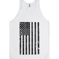 Black and White Vintage American Flag-Unisex White Tank