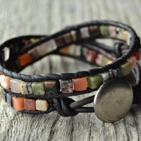 Bohemian beaded wrap bracelet. Multi colored double wrap leather bracelet. Natural stone cube beads on dark brown leather