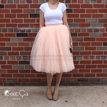 Claire - Tulle Skirt, Blash Peach Tulle Skirt, Soft Tulle Skirt, Tea Length Tulle Skirt, Midi Tutu, Adult Turu
