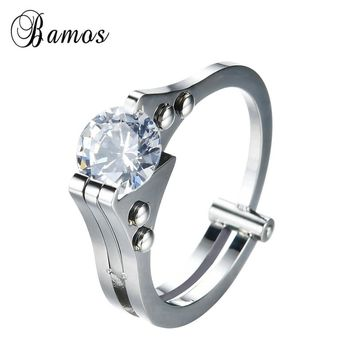 Bamos Punk Handcuffs Eternity Love Ring Luxury White Zircon Solitaire Ring Unique Wedding Rings For Women Men Fashion Jewelry