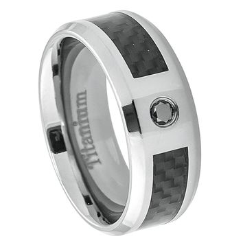 8mm Titanium Ring Black Carbon Fiber Inlay with 0.07ct  Black Diamond Center Stone
