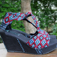 T Strap Wedge Heel Purple Womens Sandals, Vegan Shoes In Blue Ethnic Karen Hand Woven Textiles Boho Shoes - Hilary