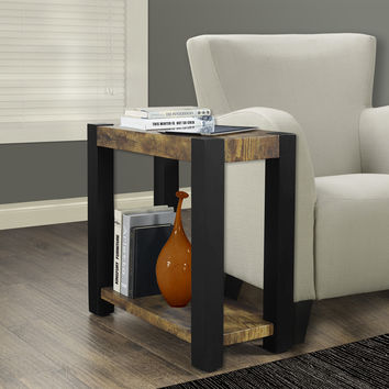 Distressed Reclaimed-Look / Black Accent Side Table