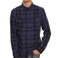RUDE Black & Purple Plaid Woven