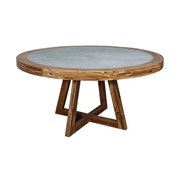 """Dracho 60"""" Round Dining Table - Concrete with Teak Wood Base"""