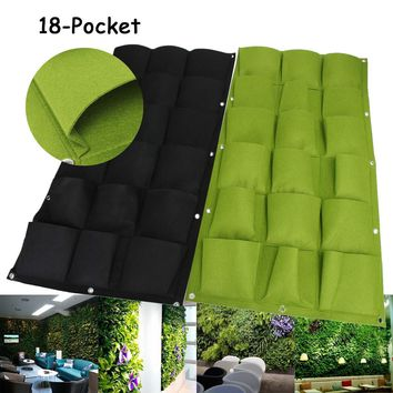 Garden Grow Bags 18 Pockets Wall Vertical For Plants Flower Hanging Felt Planter Bags for Garden Indoor Outdoor Grow Bag