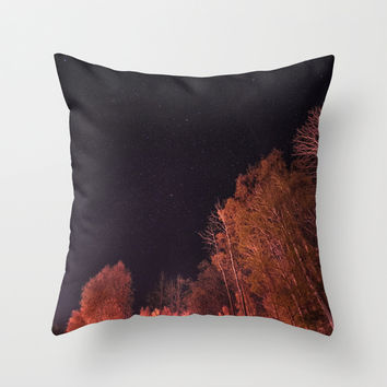 Firey woods Throw Pillow by HappyMelvin