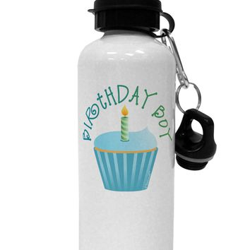 Birthday Boy - Candle Cupcake Aluminum 600ml Water Bottle by TooLoud