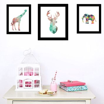 Canvas Art Print Poster Europe Spray Painting Geometric Coral Deer Animal Wall Pictures Art Home Decoration No include Frame