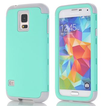 3-in-1 Phone Cases For Samsung Galaxy S5 i9600 Shell Hard&Soft Rubber Hybrid Armor Case Cover w/Screen Protector Film+Stylus Pen