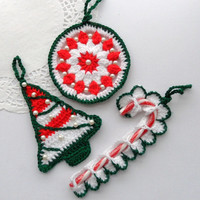 Crochet Christmas Tree Decorations Holiday Ornaments - Set of 3