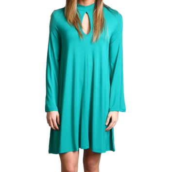 Green Piko Keyhole Bell Sleeve Dress