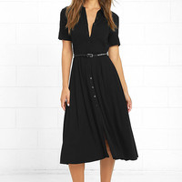 Tango in the Night Black Midi Dress